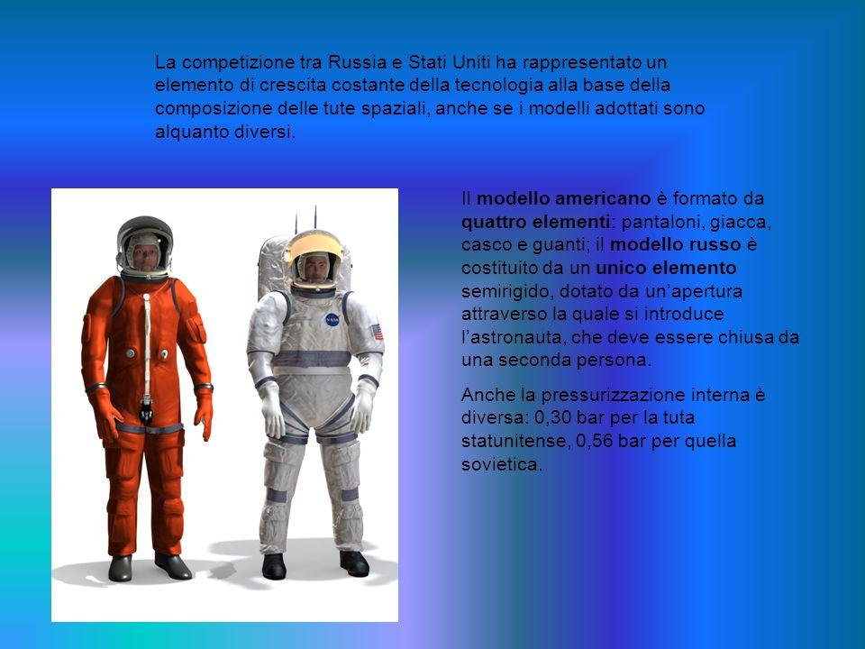 La competizione tra Russia e Stati Uniti ha rappresentato un elemento di crescita costante della tecnologia alla base della composizione delle tute spaziali, anche se i modelli adottati sono alquanto diversi.