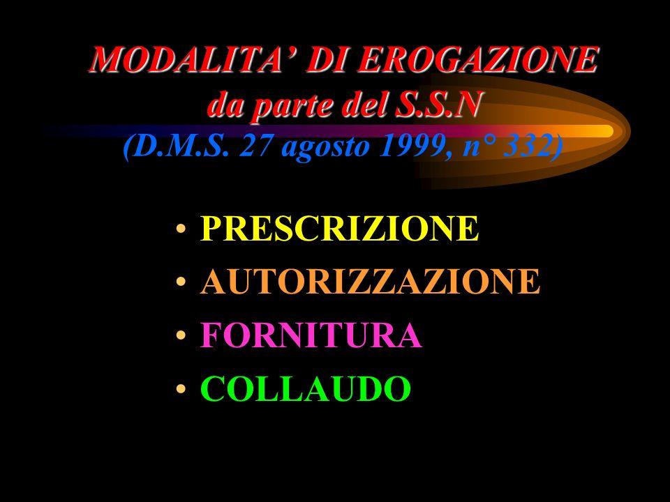 MODALITA' DI EROGAZIONE da parte del S. S. N (D. M. S