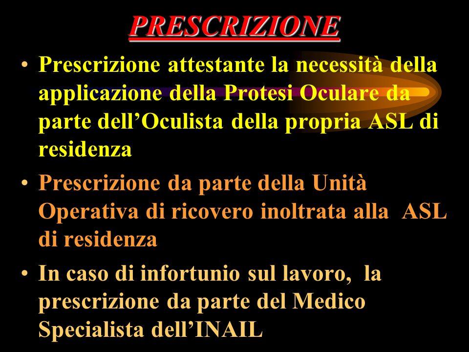 PRESCRIZIONE Prescrizione attestante la necessità della applicazione della Protesi Oculare da parte dell'Oculista della propria ASL di residenza.