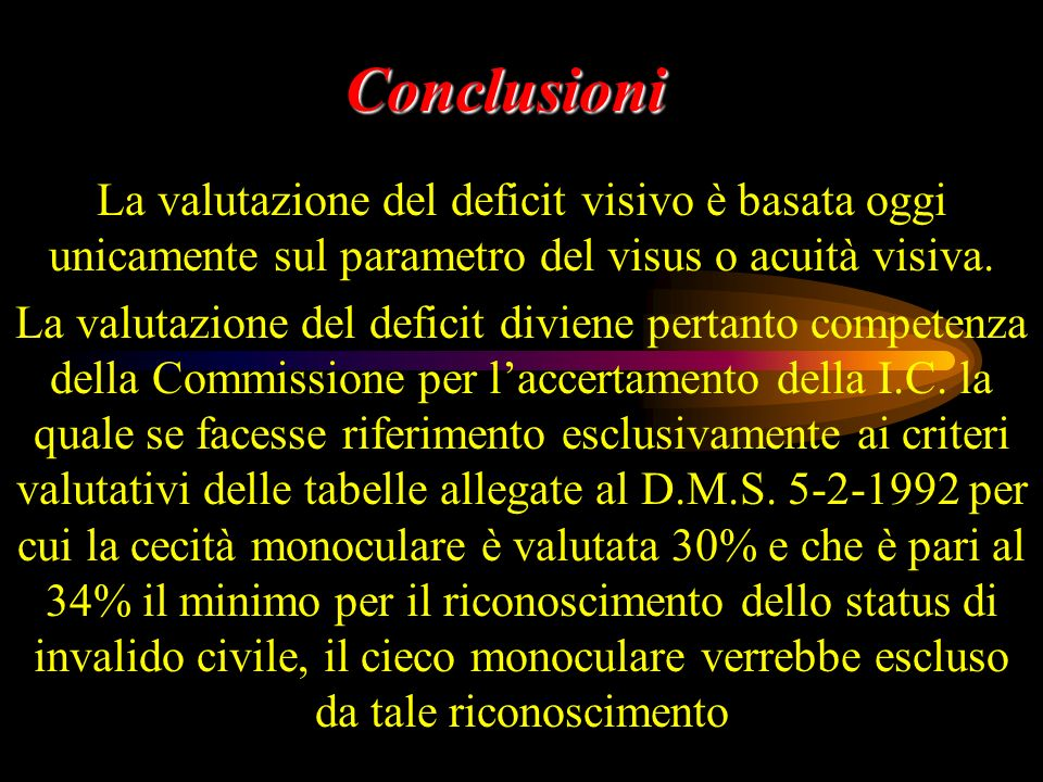 Conclusioni La valutazione del deficit visivo è basata oggi unicamente sul parametro del visus o acuità visiva.