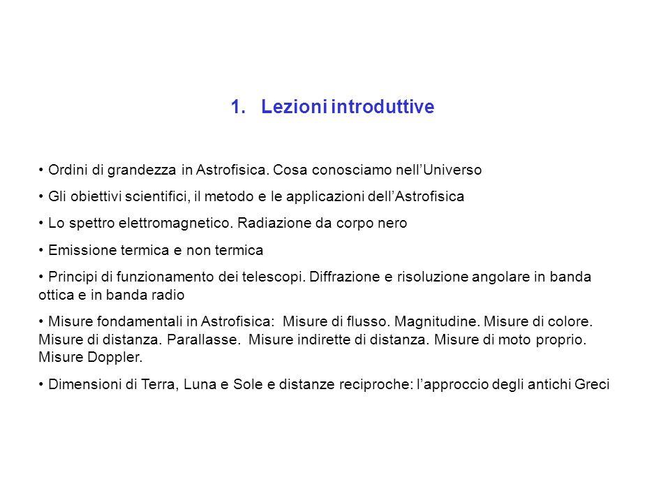 1. Lezioni introduttive Ordini di grandezza in Astrofisica. Cosa conosciamo nell'Universo.