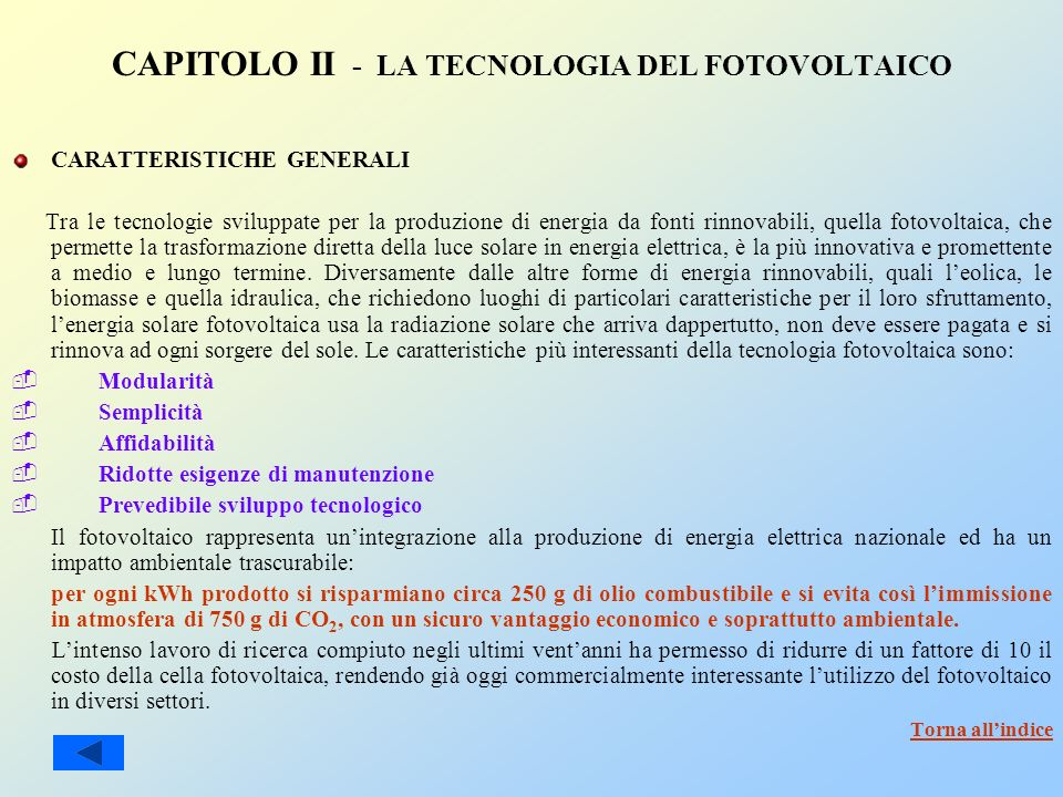 CAPITOLO II - LA TECNOLOGIA DEL FOTOVOLTAICO