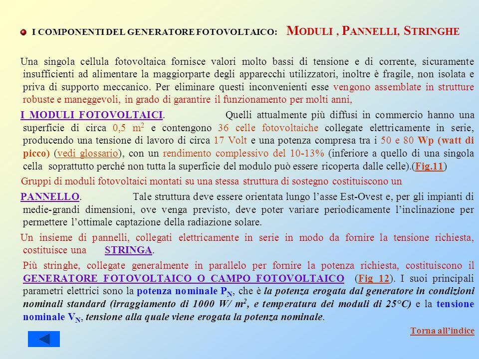 I COMPONENTI DEL GENERATORE FOTOVOLTAICO: MODULI , PANNELLI, STRINGHE