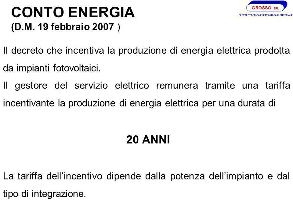 CONTO ENERGIA (D.M. 19 febbraio 2007 )