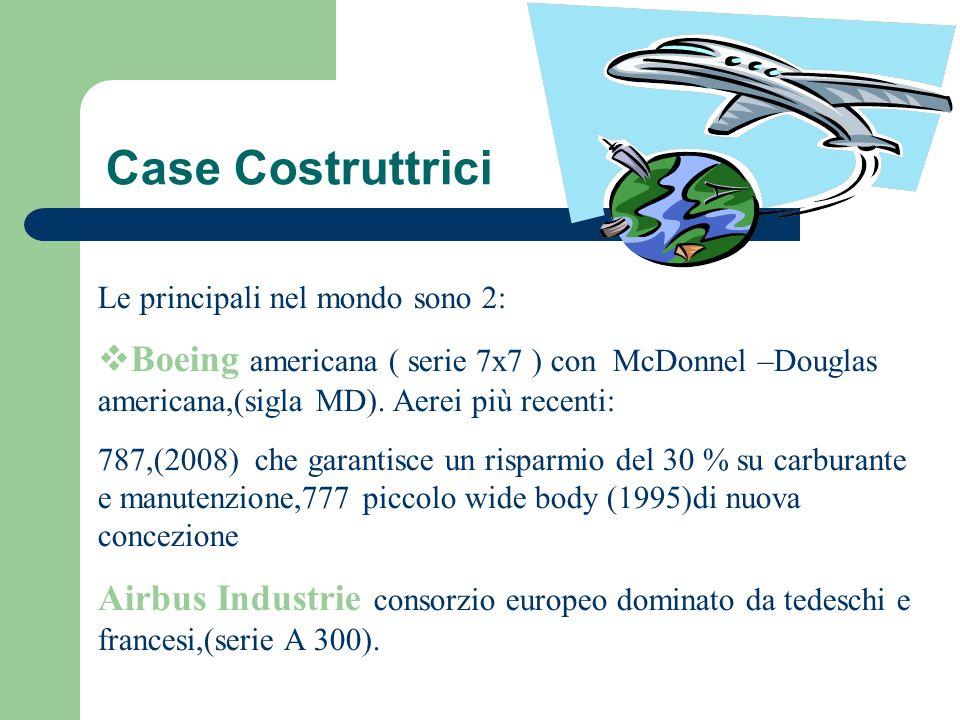 Case Costruttrici Le principali nel mondo sono 2: Boeing americana ( serie 7x7 ) con McDonnel –Douglas americana,(sigla MD). Aerei più recenti: