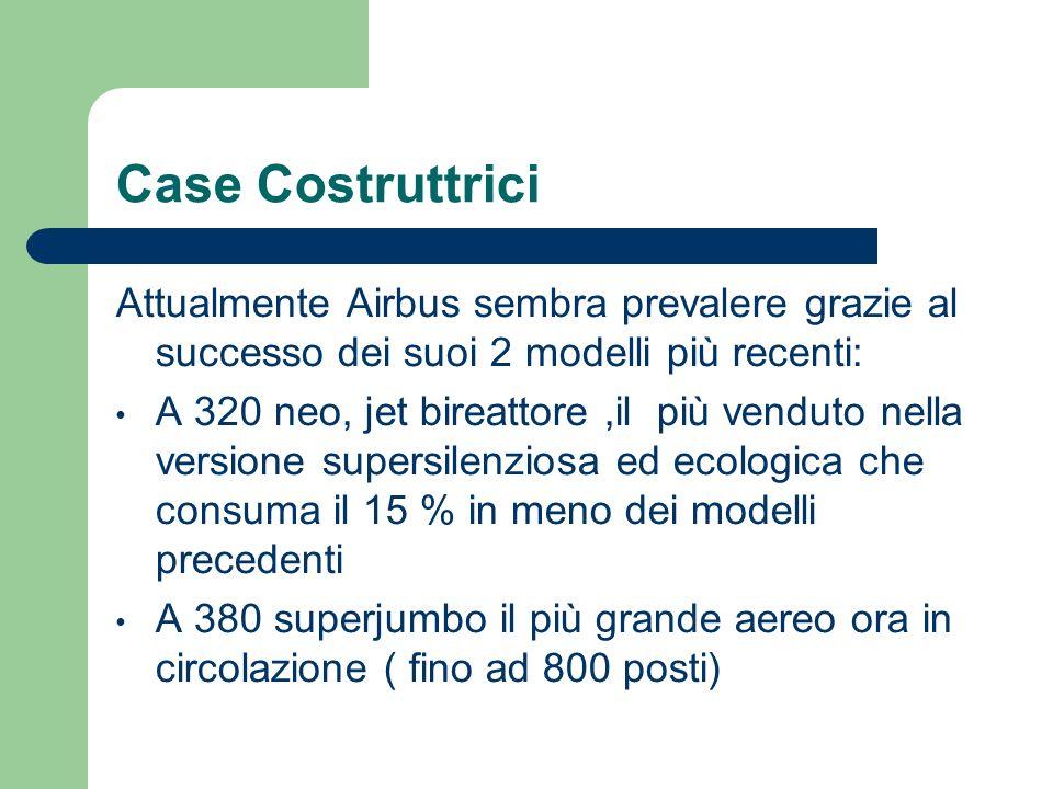 Case Costruttrici Attualmente Airbus sembra prevalere grazie al successo dei suoi 2 modelli più recenti: