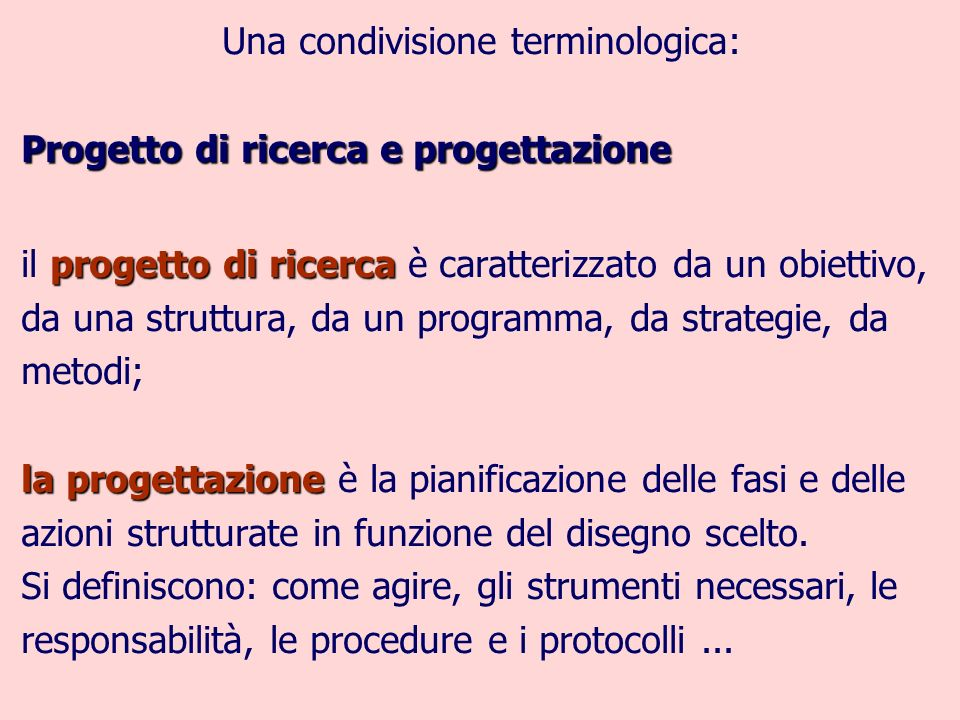 Una condivisione terminologica: