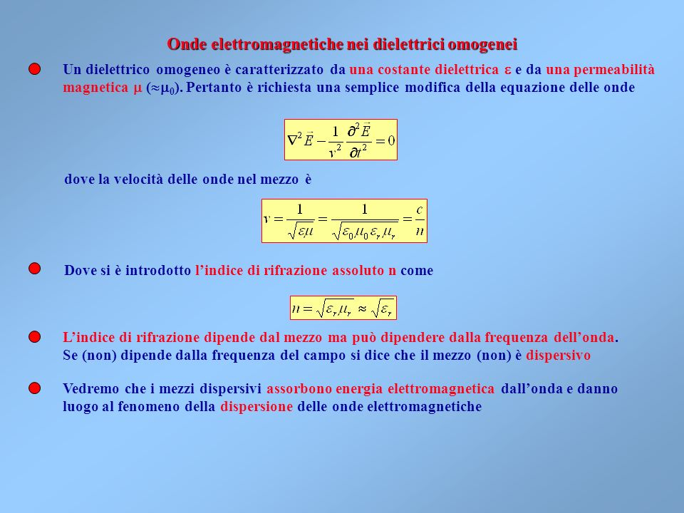 Onde elettromagnetiche nei dielettrici omogenei
