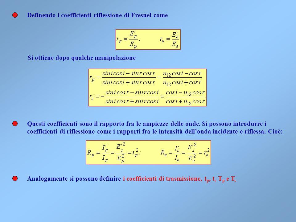 Definendo i coefficienti riflessione di Fresnel come