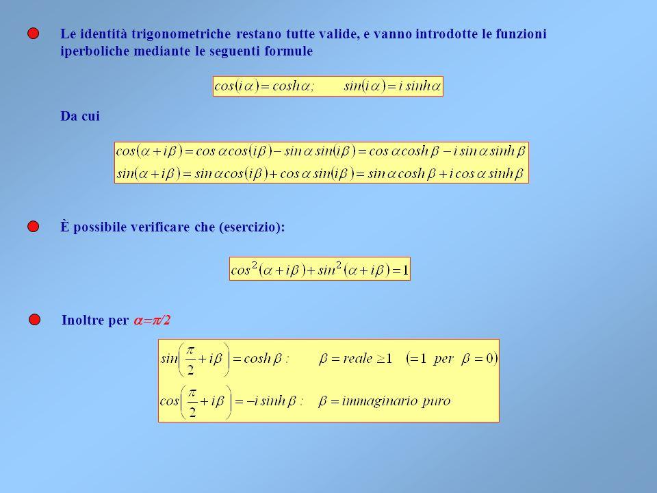 Le identità trigonometriche restano tutte valide, e vanno introdotte le funzioni