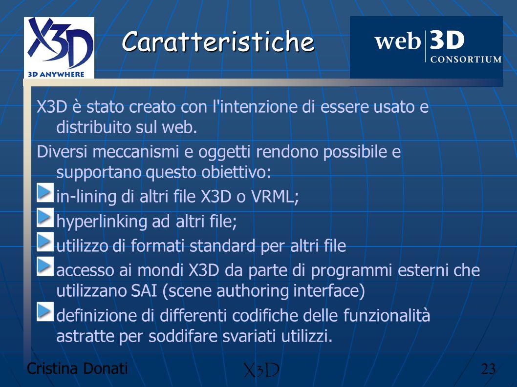 Caratteristiche X3D è stato creato con l intenzione di essere usato e distribuito sul web.