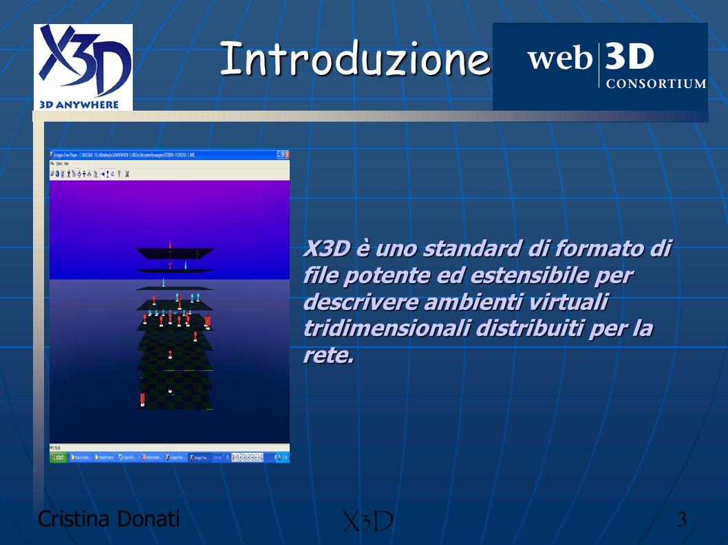 Introduzione X3D è uno standard di formato di file potente ed estensibile per descrivere ambienti virtuali tridimensionali distribuiti per la rete.