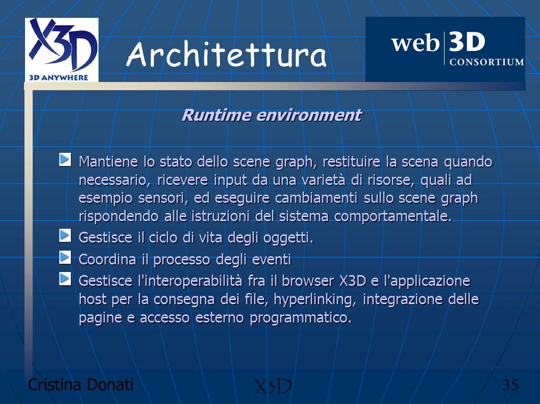 Architettura Runtime environment X3D Cristina Donati 35