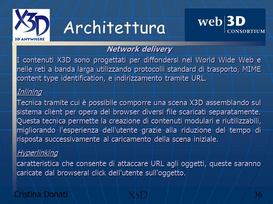 Architettura X3D Cristina Donati 36 Network delivery