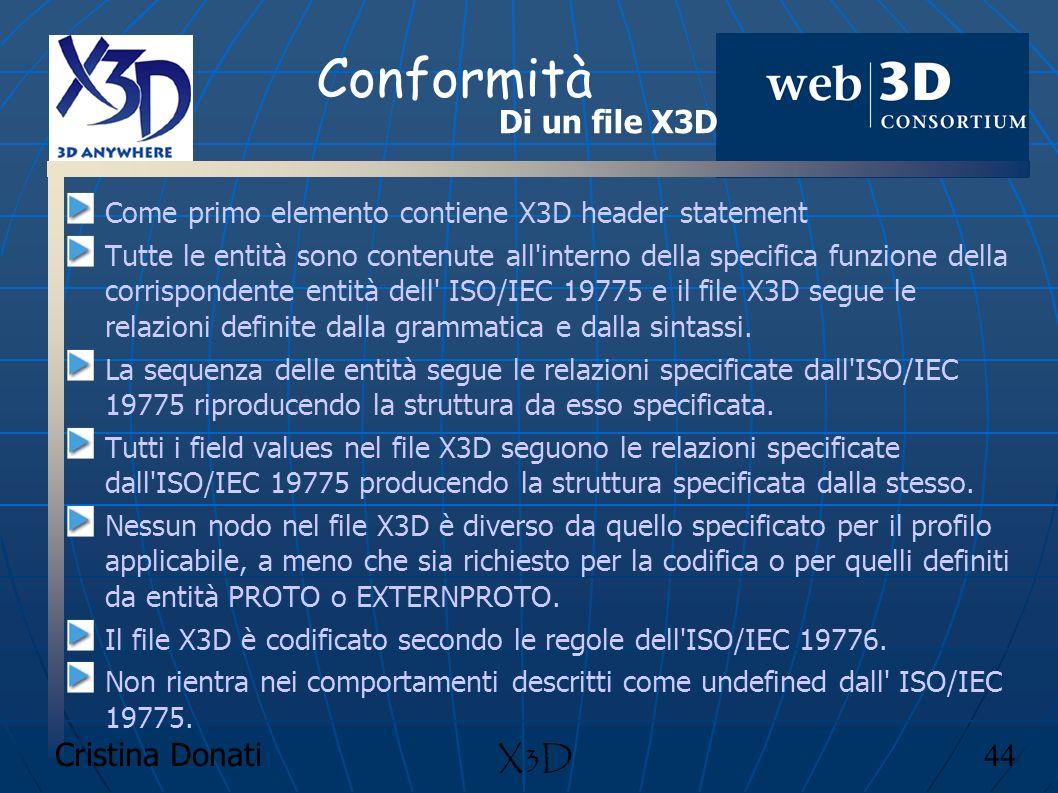 Conformità Di un file X3D X3D Cristina Donati 44