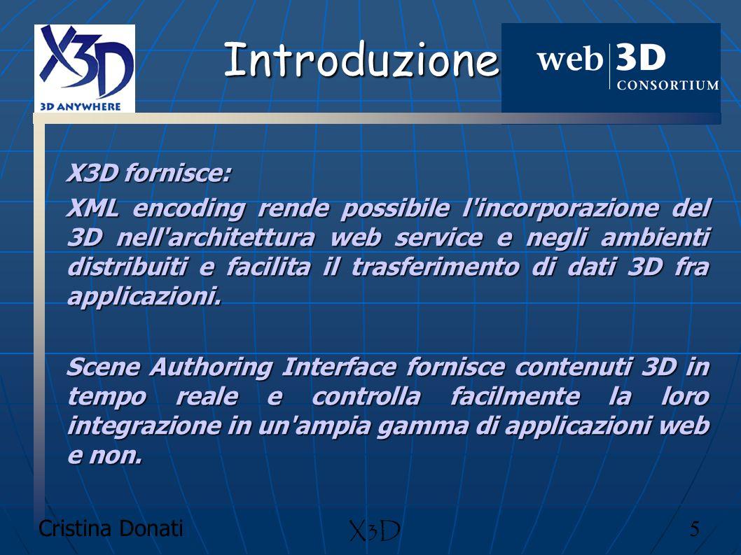 Introduzione X3D fornisce: