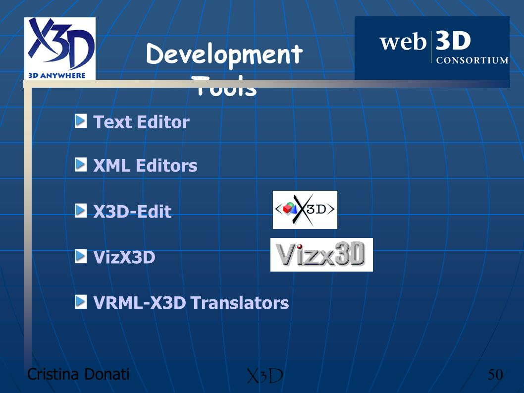 Text Editor XML Editors X3D-Edit VizX3D VRML-X3D Translators