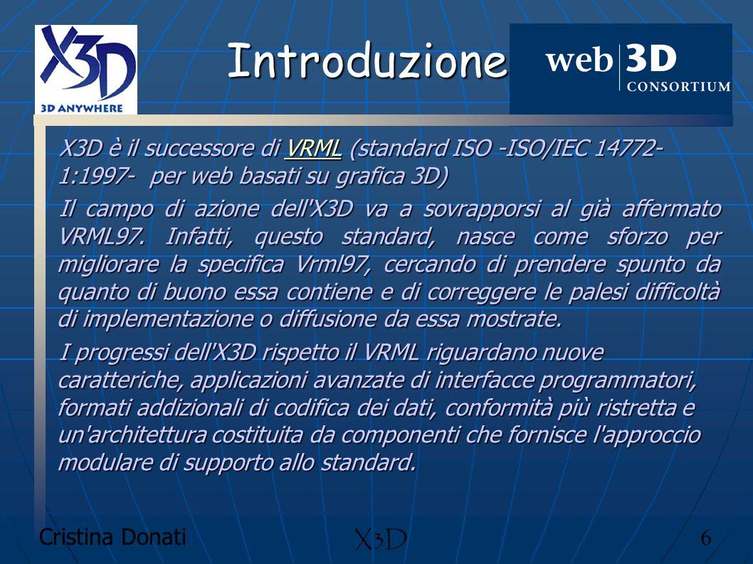 Introduzione X3D è il successore di VRML (standard ISO -ISO/IEC 14772-1:1997- per web basati su grafica 3D)