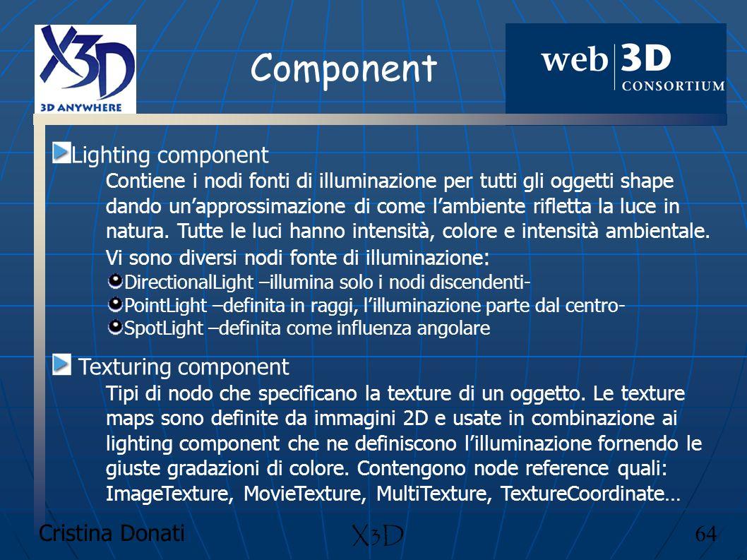 Component Lighting component Texturing component X3D Cristina Donati