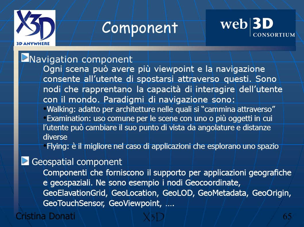 Component Navigation component Geospatial component X3D