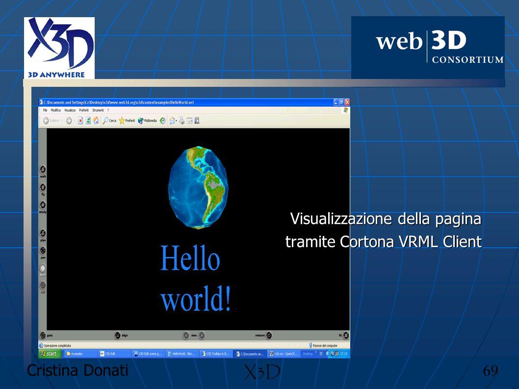 Visualizzazione della pagina tramite Cortona VRML Client