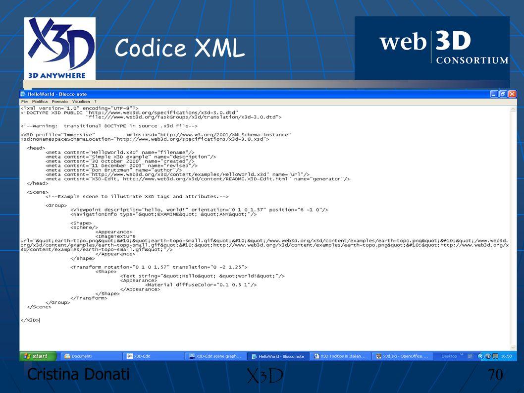 Codice XML X3D Cristina Donati 70