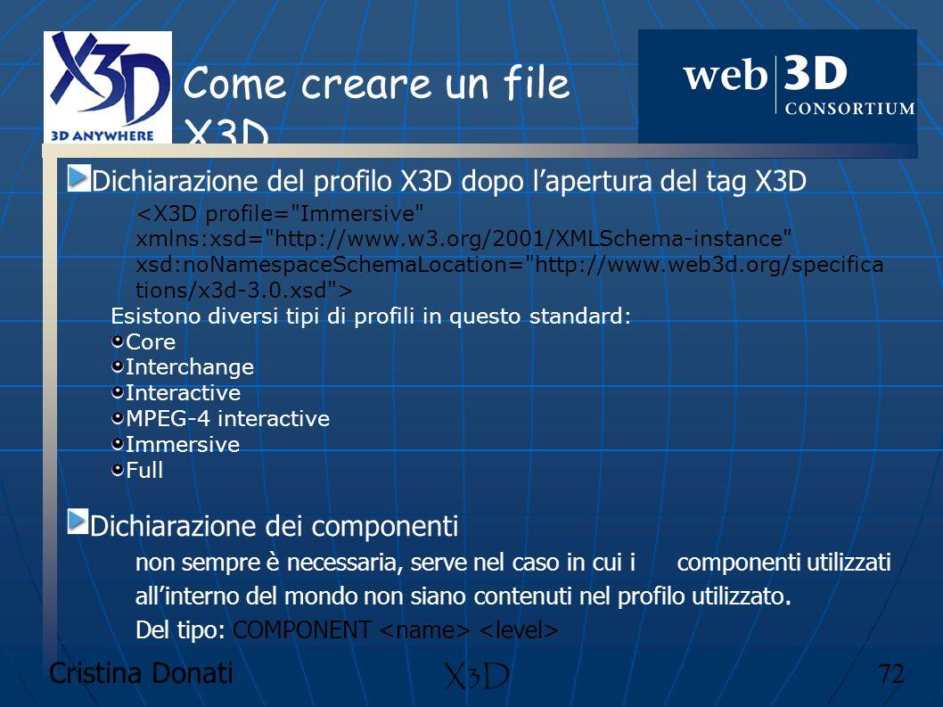 Come creare un file X3D Dichiarazione del profilo X3D dopo l'apertura del tag X3D. <X3D profile= Immersive