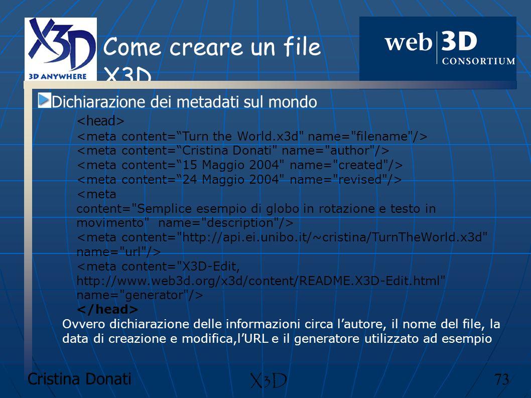 Come creare un file X3D Dichiarazione dei metadati sul mondo X3D