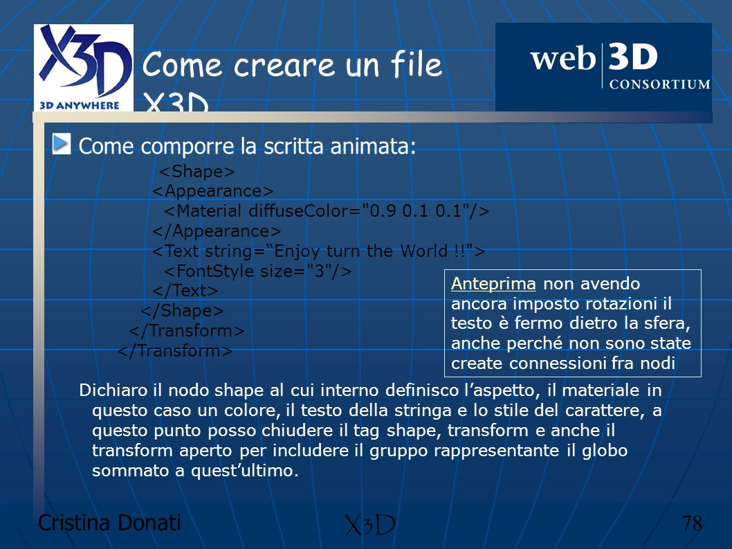 Come creare un file X3D Come comporre la scritta animata: X3D