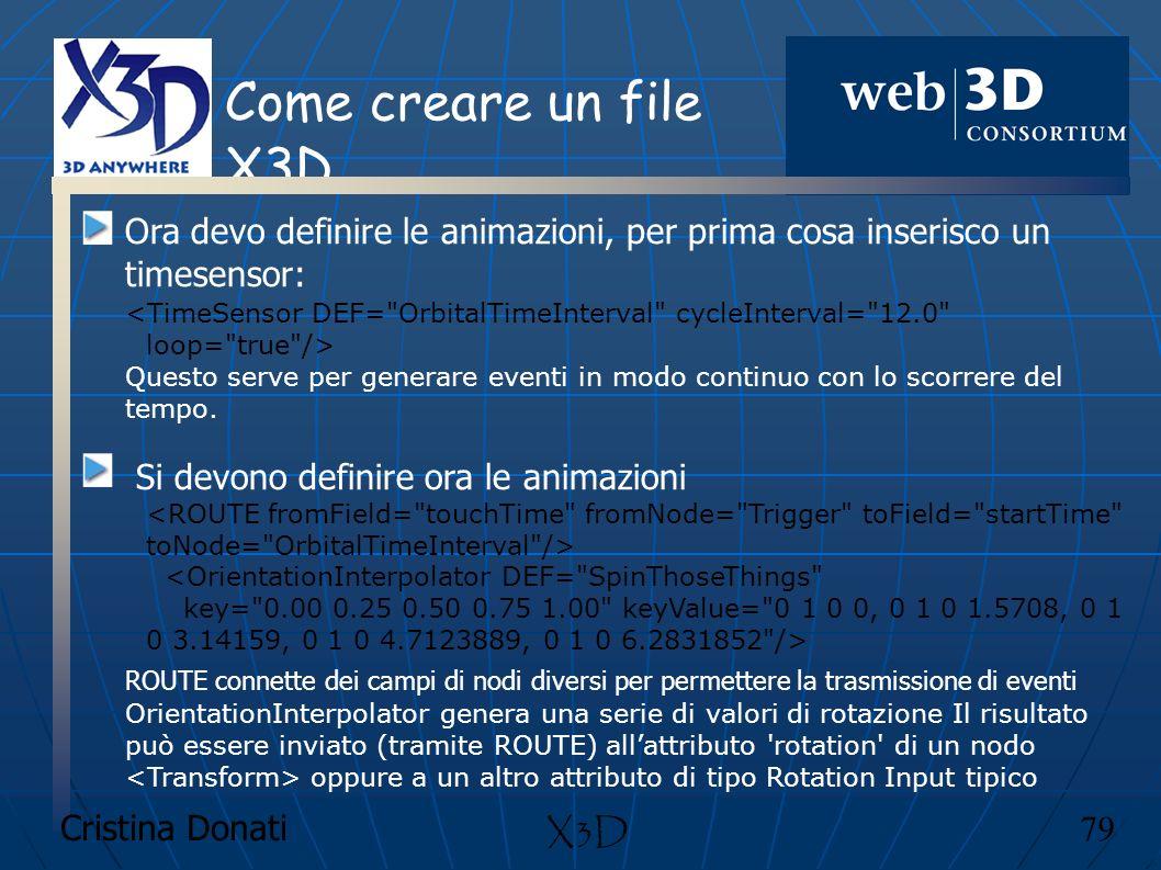 Come creare un file X3D Ora devo definire le animazioni, per prima cosa inserisco un timesensor: