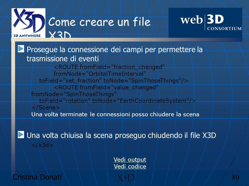 Come creare un file X3D Prosegue la connessione dei campi per permettere la trasmissione di eventi.