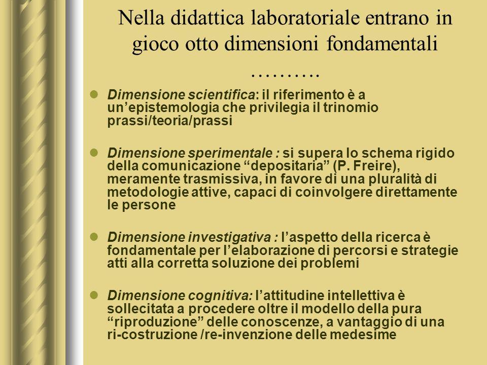 Nella didattica laboratoriale entrano in gioco otto dimensioni fondamentali ……….