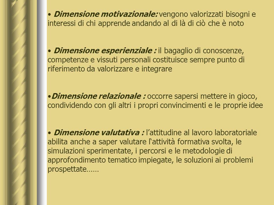 Dimensione motivazionale: vengono valorizzati bisogni e interessi di chi apprende andando al di là di ciò che è noto