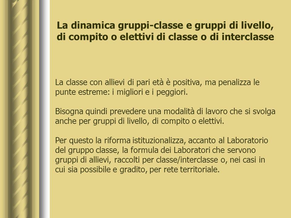 La dinamica gruppi-classe e gruppi di livello, di compito o elettivi di classe o di interclasse
