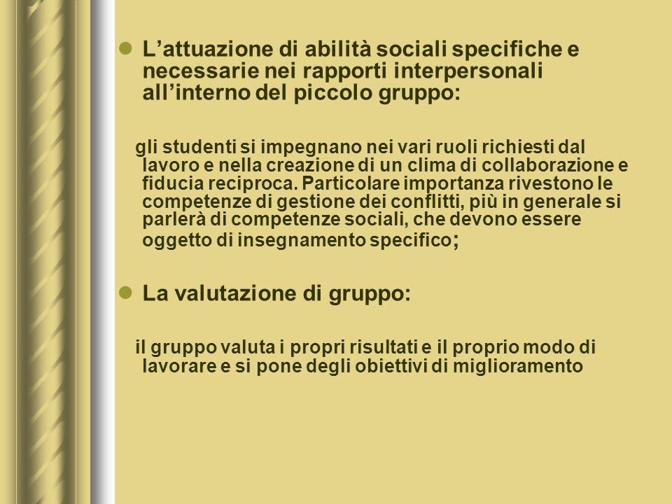 L'attuazione di abilità sociali specifiche e necessarie nei rapporti interpersonali all'interno del piccolo gruppo:
