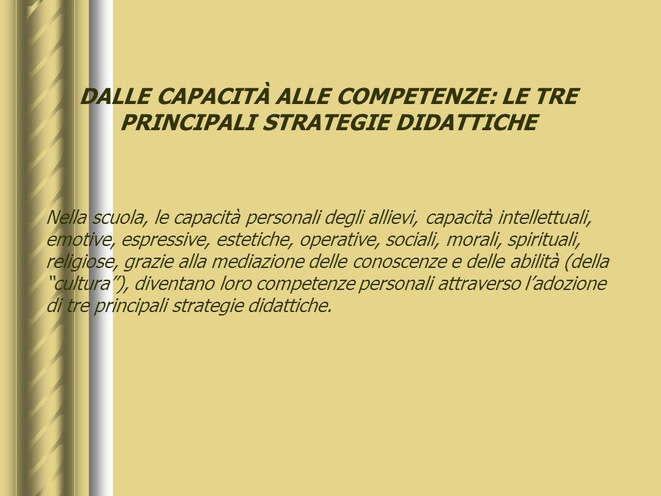 DALLE CAPACITÀ ALLE COMPETENZE: LE TRE PRINCIPALI STRATEGIE DIDATTICHE