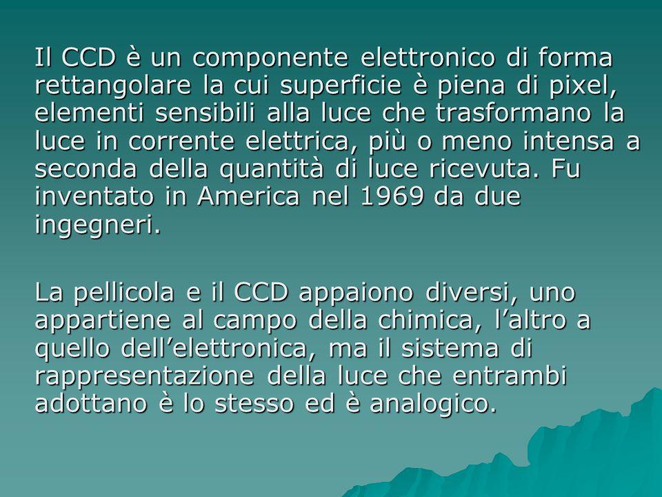 Il CCD è un componente elettronico di forma rettangolare la cui superficie è piena di pixel, elementi sensibili alla luce che trasformano la luce in corrente elettrica, più o meno intensa a seconda della quantità di luce ricevuta. Fu inventato in America nel 1969 da due ingegneri.