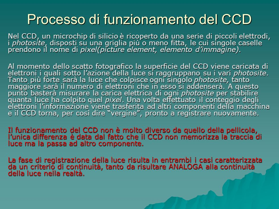 Processo di funzionamento del CCD