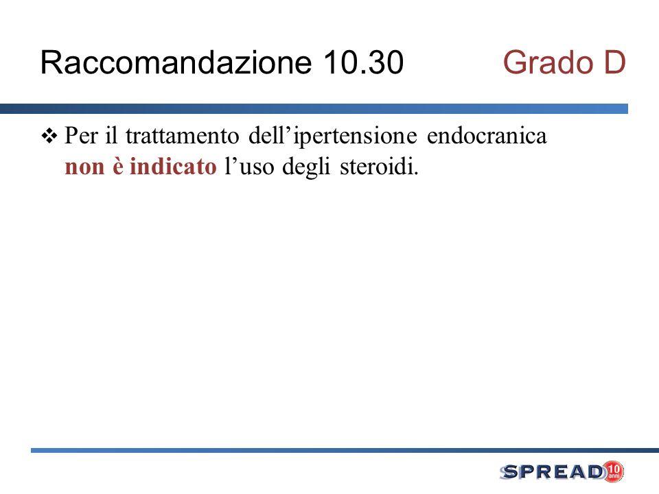 Raccomandazione 10.30 Grado D