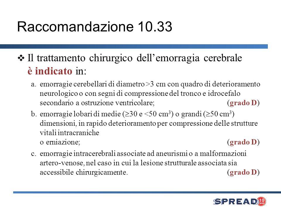 Raccomandazione 10.33 Il trattamento chirurgico dell'emorragia cerebrale è indicato in: