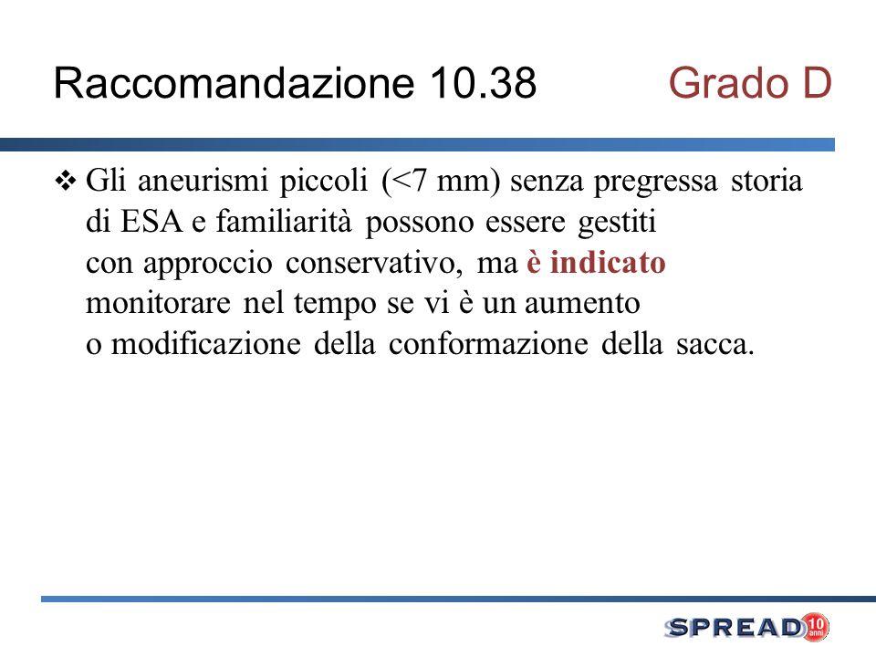 Raccomandazione 10.38 Grado D