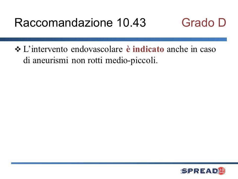 Raccomandazione 10.43 Grado D