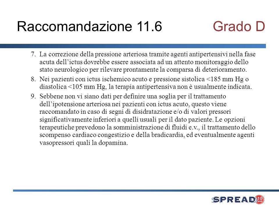 Raccomandazione 11.6 Grado D