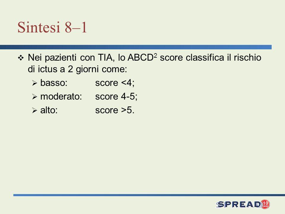Sintesi 8–1 Nei pazienti con TIA, lo ABCD2 score classifica il rischio di ictus a 2 giorni come: basso: score <4;