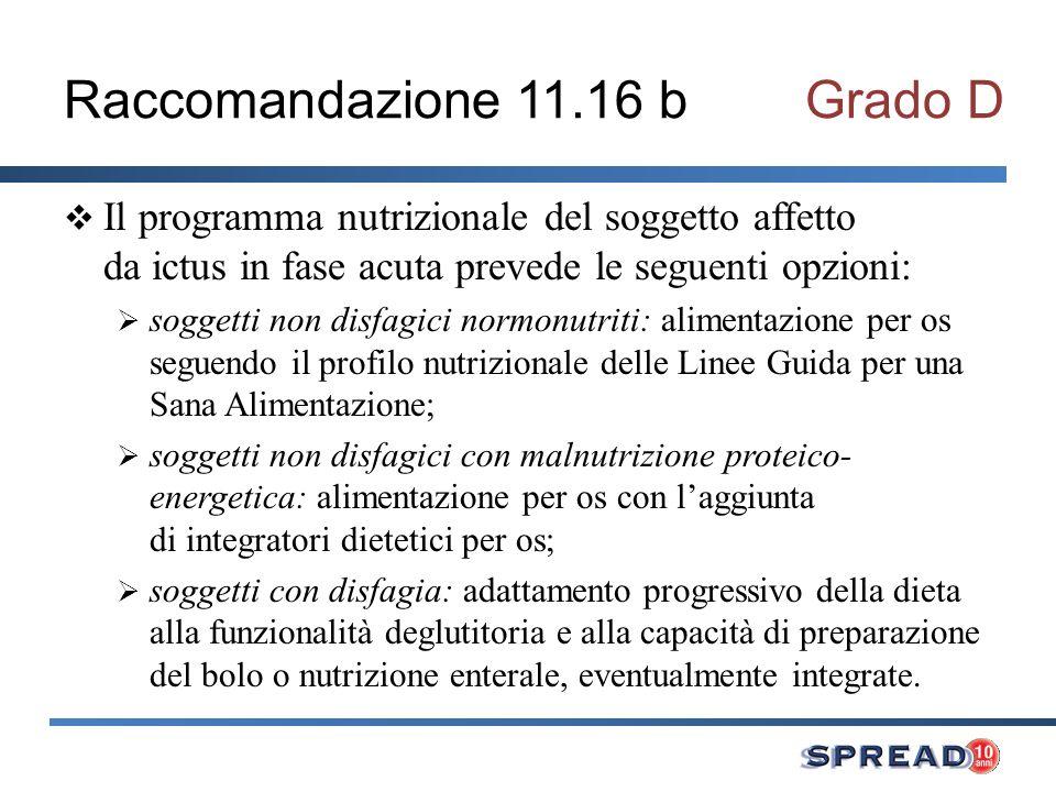 Raccomandazione 11.16 b Grado D