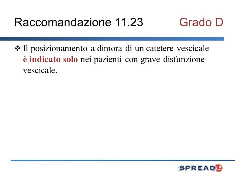 Raccomandazione 11.23 Grado D