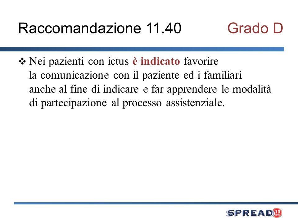 Raccomandazione 11.40 Grado D