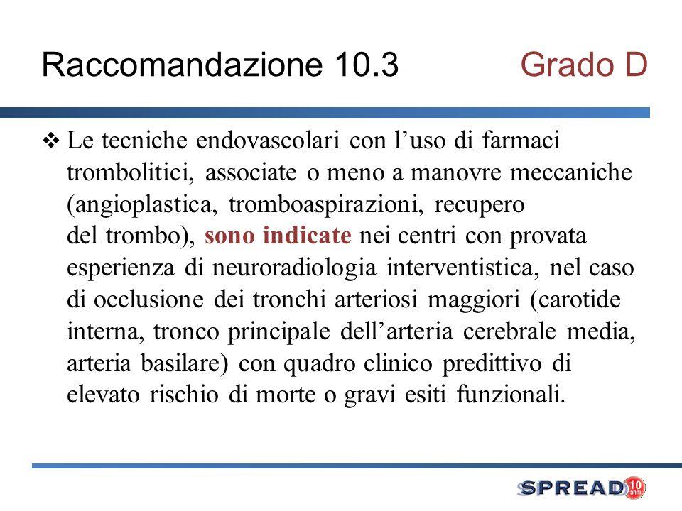 Raccomandazione 10.3 Grado D