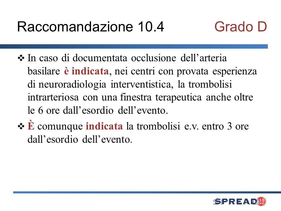 Raccomandazione 10.4 Grado D