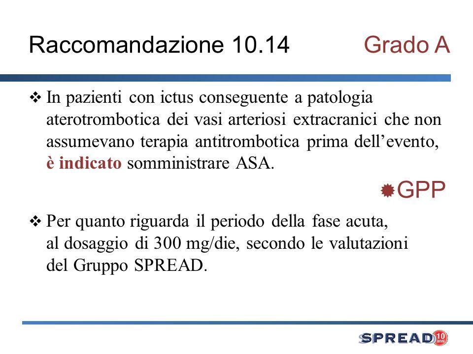 Raccomandazione 10.14 Grado A